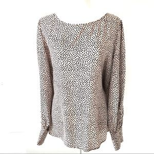 EXPRESS Dot Print Large Button-Cuff Blouse SIZE XL